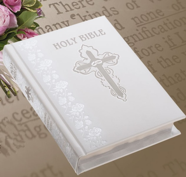 White Leather Wedding Bible
