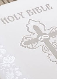 White Catholic Wedding Bible