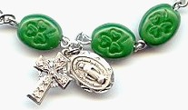 green glass shamrock Rosary bracelet
