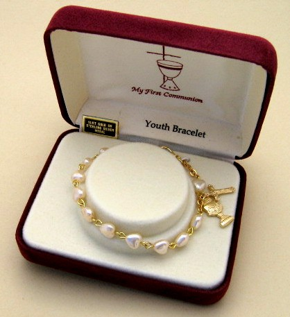 pink pearl heart First Communion Bracelet