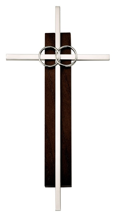 Dark Wood & Silver Catholic Cana Wedding Cross