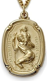Gold over sterling silver St. Christopher shield medal