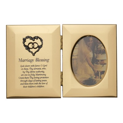 gold metal Catholic Marriage Blessing wedding photo frame