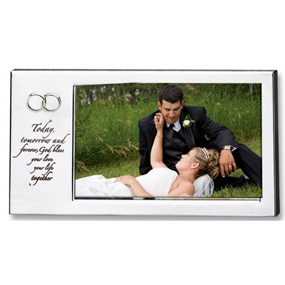 silver metal Catholic wedding photo frame