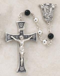 Image of All Sterling Silver & Onyx Men's Rosary by Creed