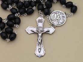 Black Wood & Sterling Silver Men's Rosary