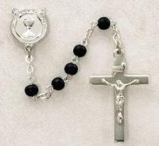 Boys black wood bead sterling silver First Holy Communion Rosary