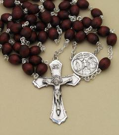 Image of Brown Wood & Sterling Silver Men's Rosary