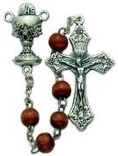 closeup brown wood bead First Communion Rosary