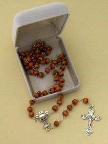 Brown Wood Bead First Holy Communion Rosary