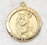 Gold over Sterling Silver Saint Christopher Medal - patron saint