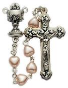 Pink Heart Pearl Bead First Communion Rosary