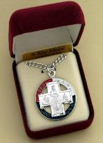 Image of Sterling Silver and Enamel Military 4-way medal