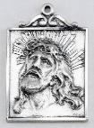Sterling Silver Head of Christ Medal with crown of thorns